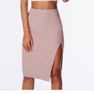 Pink high waisted pencil skirt